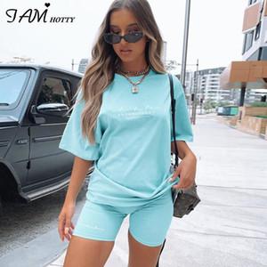 IAMHOTTY Harf Temel Katı Boy Tişört Şort İki Adet Set Kadınlar Casual Giyim Lounge Giyim Koşu Femme eşofman yazdır