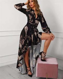 Kleid Unregelmäßigen Saum Casual Frühling Herbst Kleid Floral Bedruckte Frauen Designer Kleid Retro Gericht Stil Mode