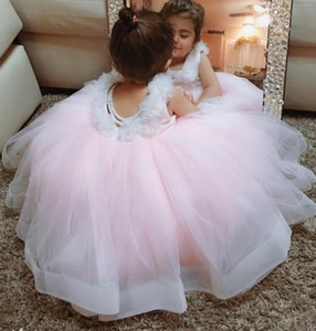 Lace Pearls Flower Girl Dresse Backless Ball Gown Tulle Little Girl Pageant Dresses Wedding Dresses Cheap Communion Gowns