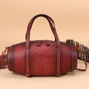 Handmade Women Handbags Genuine Leather Ladies Retro Shoulder Messenger Bag Handbag Women Bags Designe Barrel-shaped Bag