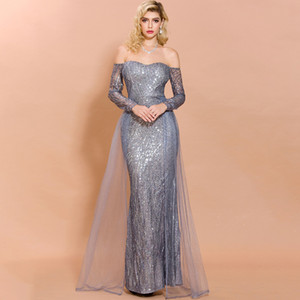 Latest Mermaid Evening Dresses With Overskirt Off Shoulder Long Sleeve Sequined Women Formal Prom Party Gowns robes de soirée In Stock