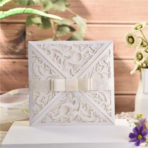 Tarjeta de Invitación de la casilla blanca Europea para la invitación de boda elegante de novia de encaje delicado tallado Tarjetas con Bowknots