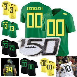 Пользовательские Oregon Ducks 2019 Новый Футбол Любой Название Количество Белый Черный Зеленый Желтый 7 CJ Verdell 10 Джастин Герберт Mariota NCAA Джерси 150-й