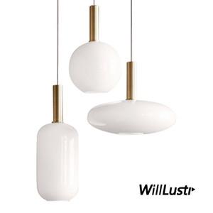 Nordic Milk Glass Pendant Lamp Round Oval Cylinder Hotel Restaurant Lounge Study Office Bedroom Metal Creative Hanging Lighting