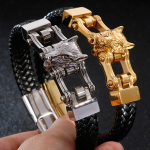 Double Wolf Head Wrap Bracelet Men Hiphop Massive Biker Jewelry Gold Color 316L Stainless Steel Mens Leather Cuff Bracelets 2020