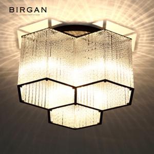 Lámpara colgante de cristal hexagonal de luz LED de techo moderna de montaje empotrado artefacto de iluminación para la sala de estar Dormitorio Cafetería Bar lámpara de techo