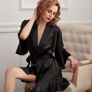 Yhotmeng Nightgown woman sloth sleepwear sexy Lady Bathrobe Princessa Morning Robe Wind Ms. Home Wear Ice Silk Simulation Silk