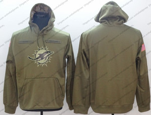 Sudadera Miami Dolphins Hoodie 2018 Olive Salute to Service Sideline Therma Performance sudadera con capucha S-3XL