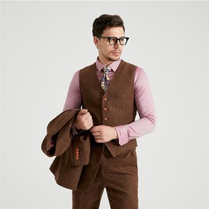 Men's Tailor Made woolen Silk Tweed Wedding Dress Suit Classic Groom Wear Tuxedo Brown dots Tweed suits for Men Custom suits