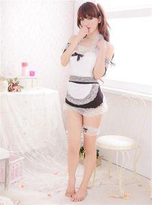 Леди сексуальное женское белье Комплект кружева черный белый Babydoll горничная униформа косплей сексуальное нижнее белье клубная одежда юбка+стринги горячие эротические костюмы