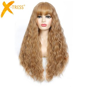 X-TRESS Light Brown Colored Synthetic Hair Wig For Women Machine Made Long Curly Wig With Bangs Fluffy Soft Hair Heat Resistant