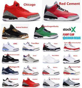 3s Jumpman Basketbol Ayakkabı Tinker 3 UNC Katrina Knicks 3M Yansıtıcı Tasarımcı Eğitmenler Sneakers Rakipler Siyah Çimento kırmızı