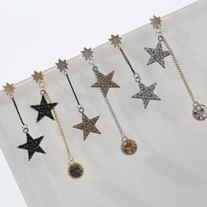 Neoglory Black Star brincos de corrente para a mulher assimetria brincos de pingente de prata Pin Jóias para o partido
