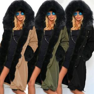 Hiver Femmes Designer Thick Down Mode Dames Vestes Solides avec Fourrure À Capuche Casual Lâche Femelle Vêtements de Dessus
