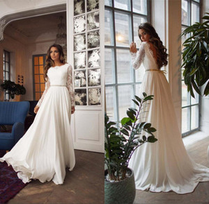 Maniche a buon mercato lungo Lace Bateau A-line chiffon Beach Wedding Dresses Eleagnt aperto Back Beach Bohemain Abito da sposa