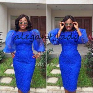 Robes de cocktail de bal cour court bleu asoebi avec manches gonflées 2019 col de bijou à col dentelle africaine longueur genou gaine robe de soirée