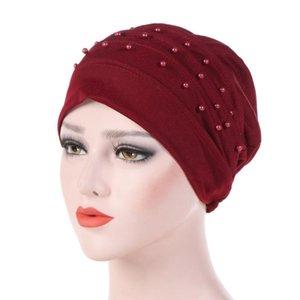 Signore 1PC donne bowknot perline musulmano Cappello protezione solare solido Colore Hijabs Cancer Chemo Cap moda della testa del turbante film estensibile Hat