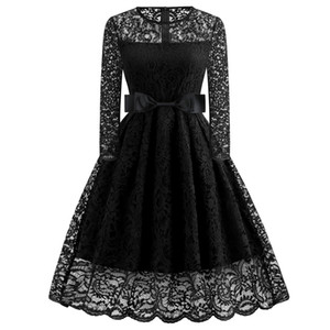 IN Stock Black Lace Long Sleeve Short Evening Dresses Wear Party Cocktail Dresses Cheap Prom Gowns Vestidos De Fiesta 2019