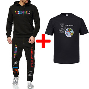 Travis Scott calças calças Astroworld Fatos Mens Hoodies camisetas 3pcs Suits Ternos Primavera Verão