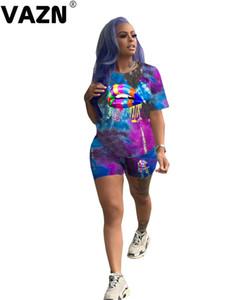 commercio all'ingrosso di disegno 2020 sexy lady estate Top 3 colori 2 pezzi manica corta O-collo T shirs bicchierini regolati giovani insiemi di modo della signora streetwear