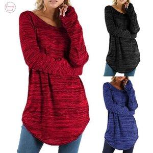 Tamaño más Mujeres camiseta de manga larga casual tapas flojas de la túnica hembra de la camiseta holgada del color sólido Camiseta básica Camiseta Femme