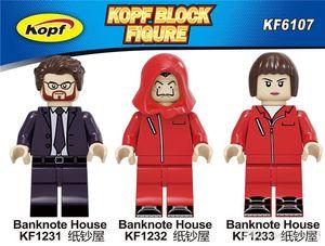 La casa de papel bloco Figuras Figuras Brinquedos Building Blocks Suspense Filme Banknote Casa Dinheiro Heist assassino John Wick para crianças Brinquedos Lea