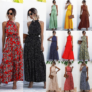 Лето элегантный сексуальный пляж длинное платье женщины 2020 мода печати цветы горошек ремень дамы Холтер boho платье женщины vestidos