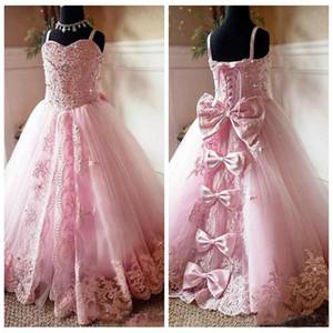 2019 мантий Красивый розовый кружевной Аппликация цветок девочки платья бретельках Дети Первое причастие Pageant партии