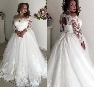 2021 Moderne Schaufel-Hals-Brautkleider 3/4 lange Spitzenhülsen Applique Tüll gerafft plus Größe Schlüsselloch zurück Korsett Hochzeit Brautkleider