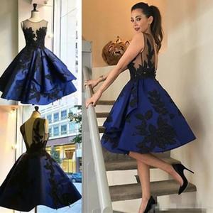 2019 Modern Dubai Estilo Gltiz Appliqued Cocktail Dresses Jewel Neck curto Mini formal do partido Vestidos Estilo Árabe noite Dres