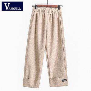 Vangull 2019 İlkbahar Yaz Casual kadın Giyim Katı Yüksek Bel Geniş Bacak Pantolon Elastik Örme Gevşek Ayak Bileği Uzunlukta pantolon