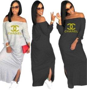 été femme designer mi-mollet jupe à manches longues une pièce robe robe skinny de haute qualité sexy élégante élégante épaule jupe klw1562