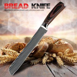 Herramienta de corte de la torta YKC marca de cocinas pan cuchillo de sierra Diseño Damasco láser lámina del acero inoxidable de 8 pulgadas chef cuchillos de pan de queso