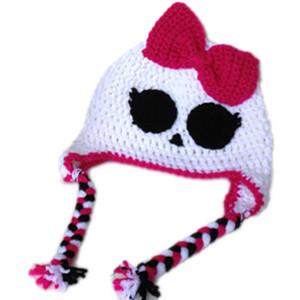 Супер крутая призрачная шапка с бантом, вязаный крючком вязаный крючком костюм для девочки на Хэллоуин, детская шапка из белого черепа, детская фотография