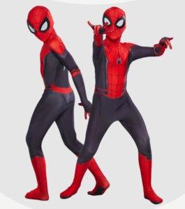 Бесплатная доставка Halloween косплей 3D Spandex Человек-паук Железный Человек-паук Far From Home Marvel Superhero костюм Зентаи костюм Дети Взрослые