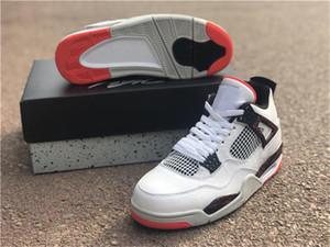 Seksi 2019 4 Iv Retro Soluk Citron Erkek Basketbol Ayakkabı Beyaz Siyah Parlak Crimson için 308497-116 Otantik Sneakers Boyut 7-13
