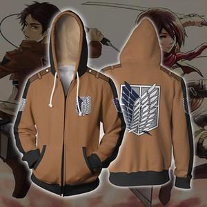 지퍼 느슨한하고 편안한와 타이탄 3D 인쇄 코스프레 의상 후드 남성 후드 재킷에 일본 애니메이션의 공격