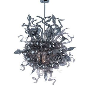 Lâmpada Mão Blown Decor Art Glass Chandelier China Factory Grey vidro Pedant Luz Modern Custom Made LED candelabro pendurado Indoor