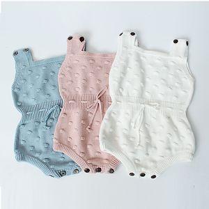 Infant Unisex Autumn Triangle Triangle Rompere 3+ Tuta in lana in cotone senza maniche solide Bambini per bambini Abiti da ragazze 0-2T