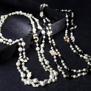 Long Simulé collier de perles pour les femmes No.5 double couche pendentif long collier CC chaîne chandail Parti Camellia nacklace