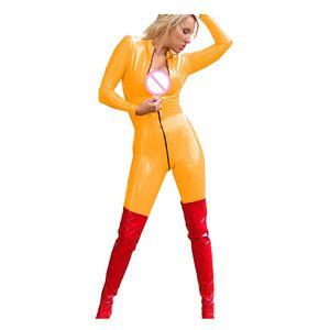 Plus Size Sexy Women Catsuit Wet Look Bodysuit Front Zipper Open Crotch Jumpsuit Exotic Dancing Romper Catwoman Cosplay Costume