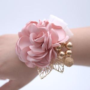 Poignet Corsage Soeurs de demoiselle d'honneur Fleurs main artificielle Bride Fleurs Party Danse de mariage Décor nuptiale de bal Accessoires