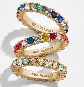 New CZ arco-íris anel de banda de pedra eternidade banhado a ouro 925 banda de noivado de prata colorido multi cor elegância mulheres dedo jóias