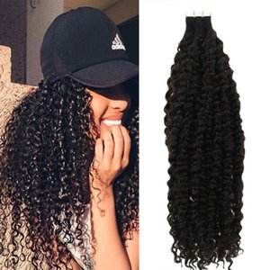 Nastro in capelli di estensione nera naturale riccio crespo 100% dei capelli umani Bonding parteggiato nastro trasparente della pelle di trama dei capelli 20pcs / 50g