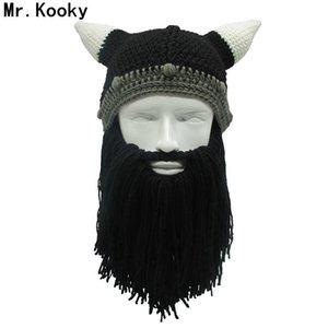Mr.Kooky Barbarian Viking Beanie Beard Horn Hat hecho a mano de invierno cálido Cap hombres mujeres cumpleaños fresco divertido partido de la mordaza regalos de Navidad S1218
