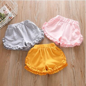 Children Summer Shorts Baby Girls Ruffle Beach Shorts Kid Cotton Elastic Short Toddler Girl Candy Color Hot Shorts Child Casual Pants ZYQ271