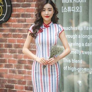 Hot tradizionale abito cinese variopinto della banda di Cheongsam manica corta abito da sera in cotone Qipao Negozio di abbigliamento cinese