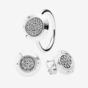 Klasik Tasarım Yüzük ve Küpe Seti 925 Ayar Gümüş Takı Pandora Burcu için CZ Elmas Yüzük Saplama Küpe Orijinal Kutusu Ile