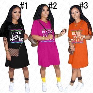 Tendência negra vive camisa MATTER Carta Designer T Dress for Women Verão solto Oversize camiseta Top T Vestidos Casual Desportivo Praia ClothD61803