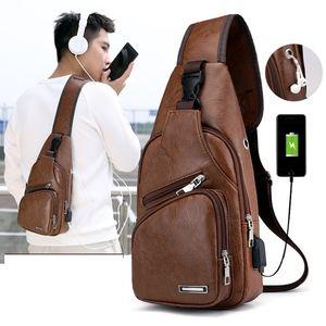 Мужские сумки Crossbody USB Chest сумка конструктора посыльного кожи плеча мешки диагональный пакет Новый Back Pack Путешествия